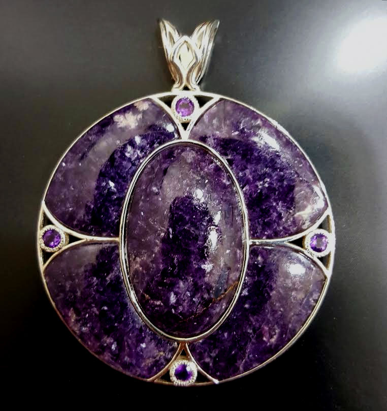 45mm Lepidolite and Amethyst in Sterling Silver Medallion